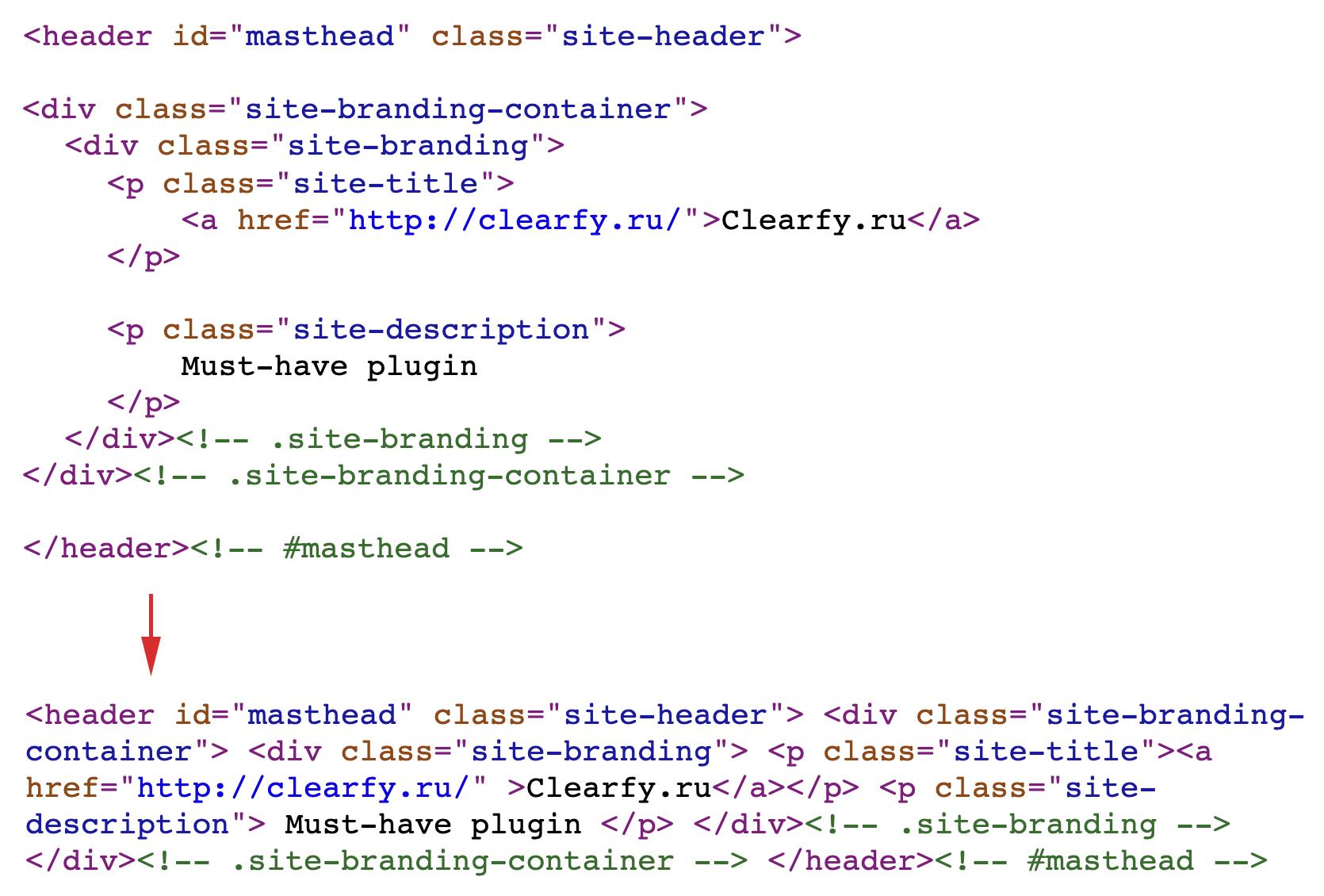 минификация HTML